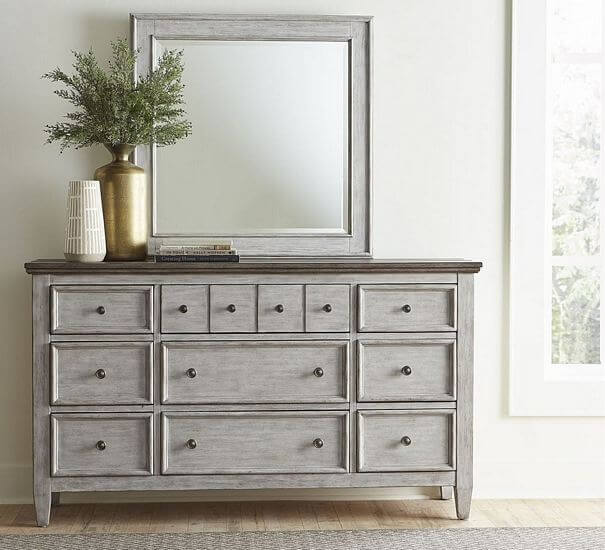 Heartland-Antique-White-with-Tobacco-Dresser-and-Landscape-Mirror