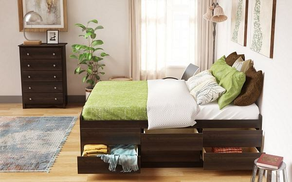 Prepac-Tall-Queen-Captain's-Platform-Storage-Bed-with-12-Drawers