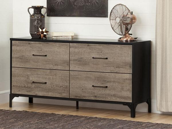 South-Shore-Valet-Weathered-Oak-and-Ebony-4-drawer-Double-Dresser