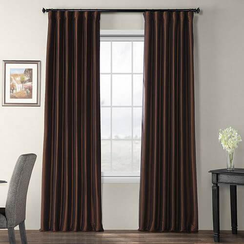 Faux-Silk-Taffeta-Solid-Blackout-Single-Curtain-Panel