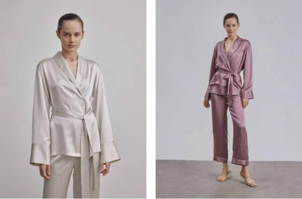 2 piece silk sleepwear