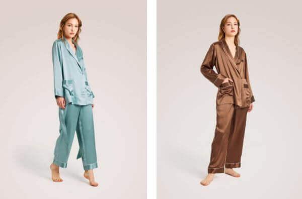 two piece silk pajama set